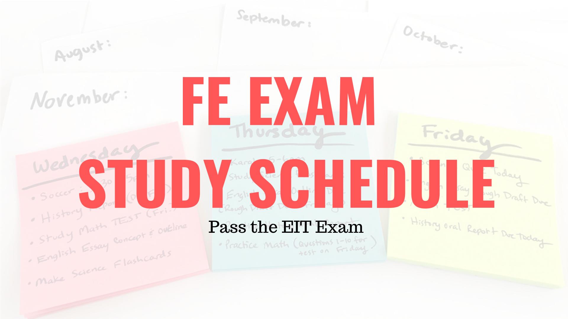 FE Exam Study Schedule